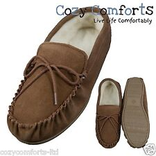Genuine Suede Moccasin Slippers With Wool Lining & PVC Sole in Camel UK 3 - 13