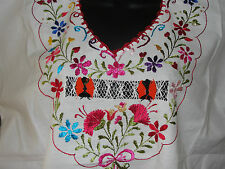 New Oaxacan Mexican Handmade Floral Embroidered Large Cotton Peasant Tunic Top