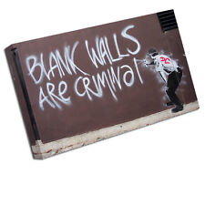 BANKSY CANVAS ART PRINT BLANK WALLS ARE CRIMINAL WALL PICTURE BA24