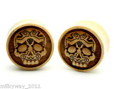 C-7 CROCODILE WOOD SUGAR SKULL CARVED EAR GAUGES PLUGS day of the dead vampire