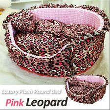 Luxury Pet Bed- Baby Pink Leopard Large Round Plush Cuddly Bed for Dog/Cat