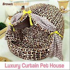 Luxury Pet Bed- Brown Leopard Curtain House Large Plush Cave Bed for Dog/Cat
