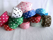 "11 colors 1 Yard 7/8"" each pretty Dots Grosgrain Ribbon for DIY hairbow crafts"