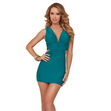 Sleeveless V-neck Empire Waist Cut Out Panel X-strap Back Evening Party Dress