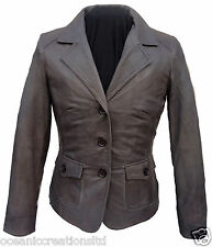 Ladies Womens Classic Smart Formal 100% Soft Real Leather Blazer Jacket Coat