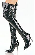 "STRETCH THIGH HIGH BOOTS 5"" HEELS FETISH CROSSDRESSER SIZES 6-16 ASSORTED COLORS"