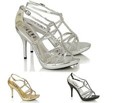 New Womens Diamante Sandal Bridesmaids Evening Sandals in Size 3-8