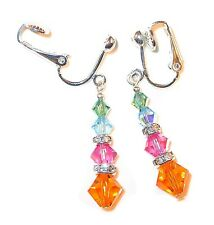 MULTI-COLOR Blue Pink Sun EARRINGS Sterling Silver Swarovski Crystal Elements