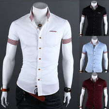 Luxury Style Mens Slim fit Collar Short Sleeve Plaids Formal Casual Dress Shirts