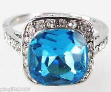 Size 6,7,8,9 Jewelry Woman's Blue Topaz White Topaz 10KT White Gold Filled Ring