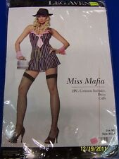 2 pc Miss Mafia Gangster Dress Pinstripe Halloween Sexy Adult Costume 2 COLORS