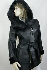 NEW 100% REAL GENUINE SHEARLING LEATHER TOSCANA FUR HOOD BLACK COAT JACKET XS-6X