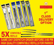 QUALITY 5 X COMPATIBLE  PARKER BROAD REFILLS FOR BALLPOINT MEDIUM BLACK/BLUE