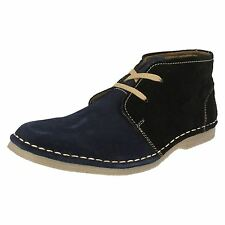 SALE MENS TAG1 SUEDE LACE UP ANKLE BOOT IN BLUE/BLACK (AM-9911)
