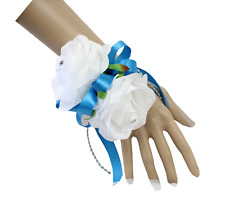 Pick ribbon color**White Rose,Stephanotis Wrist Corsage.Ball,Wedding,Party,Prom