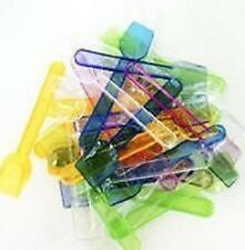 100 Mixed Colours Neon Plastic Ice Cream Spoons.Desserts, Food, Sampling,Parties