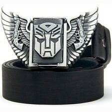 New Superhero Transformers Removable Lighter Metal Mens Belt Buckle Leather Belt