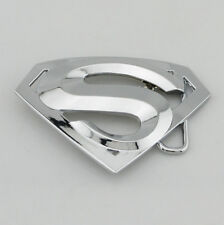new western Silver classic superman superhero mens metal belt buckle leather