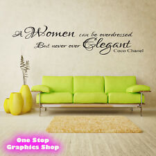 COCO CHANEL WOMEN ELEGANT WALL ART QUOTE STICKER -  LOUNGE BEDROOM LOVE DECAL X7