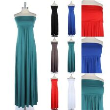 Foldover Tube Ruched Maxi Dress Full Length Long Strapless Comfortable Rayon