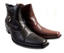 NEW MENS STYLISH ANKLE BOOTS LEATHER ZIPPERED BUCKLE STRAPS DRESS SHOES/2 COLORS