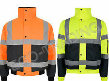 2 Tone Hi Vis Safety Bomber Jacket Coat Storm Padded Waterproof security!