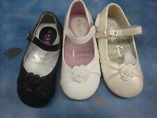 NEW Girl Ivory/Black/White Dressy Shoes/Wedding/Party/Baptism/Toddler,4-9Low Hil