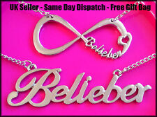 Love Justin Bieber Belieber Infinity / Long Line Necklace Silver + Free Gift Bag