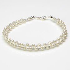 Cream Glass Pearl and Clear Ab Seedbead Double Anklet