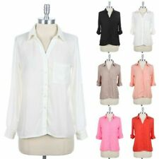 Roll Up Sleeve Button Down Solid Shirt High Low Hem V Neck Top with Chest Pocket