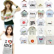Sexy Woman Fashionable Bow Flag Skull Love Atom funny Hot Dance Hot Cropped Top