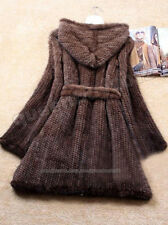 100% Real Knitted Mink Fur Long Coat Outwear Jacket Hoody Wearcoat 5 Colors New