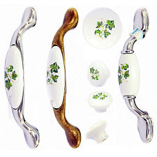 New Retro Green Leaves Pattern Ceramic Cabinet Cupboard Drawer Knobs Pull Handle