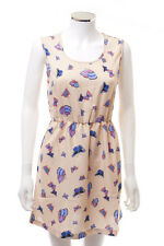 New Womens / Ladies Boohoo Butterfly Print Skater Dress - Summer - Nude - 8 - 16