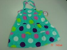 NWT Girls Aqua Polka Dot Beach Coverup Sun Dress Op Summer Swim Sleeveless