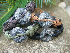 Tribal Shield Hemp & Genuine Leather Tribal Surf Mens Ladies Bracelet
