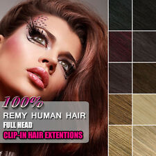 CLIP IN REMY 100% HUMAN HAIR EXTENSIONS FULL COLOR 16 18 20 22 24 26 INCH