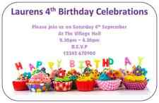 cupcake personalised birthday invitations thank you notes party invites cakes