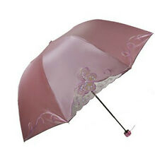 Butterfly style embroidery umbrella folding parasol high quality womens umbrella