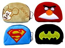 BOYS GIRLS PLUSH COIN PURSE BATMAN ANGRY BIRD SUPERMAN MICKEY MOUSE ZIP UP PURSE