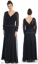 NEW LONG SLEEVE MOTHER of the GROOM BRIDE EVENING DRESSES FORMAL PLUS SIZE GOWNS