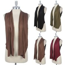 Open Draped Front Sleeve Cardigan Vest with Faux Leather Back Panel Ruched Neck