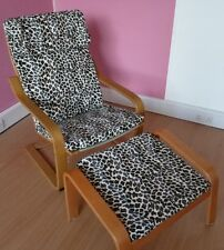 BESPOKE CUSTOM MADE ANIMAL PRINT FAUX FUR SLIP COVER FOR IKEA BASIC POANG CHAIR