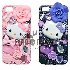 3D Bling Crystal Hello Kitty Diamond Pearl Fairy Tale Flower iPhone SE 5 5G Case