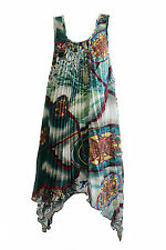 NEW FILO Sleeveless Abstract Print Pleated Tunic Dress SIZES 8 10 12 14 16 18