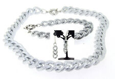 "17""18""-36""TEXTURED SILVER ALUMINIUM CURB LINK CHAIN NECKLACE BRACELET Ear CHOKER"