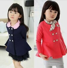 New Kids Toddlers Girls Double Breasted Coat Outerwear Dress 3-8Y S365