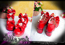 Lolita Baby Doll Bow Maid Scalloped Mary-jane Heel shoes red 9972