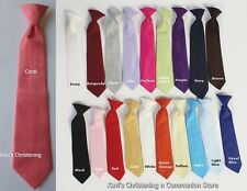 Tie Necktie Long Clip-On 19 Colors Wedding Baby Toddler Boys Size 0-14 yrs USA