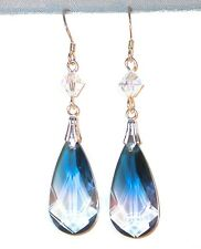 SWAROVSKI CRYSTAL Elements Sterling Silver 24m Teardrop Earrings OCEAN BLUE